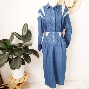 80- 90s Vintage Western Jean Midi Shirt Dress 723